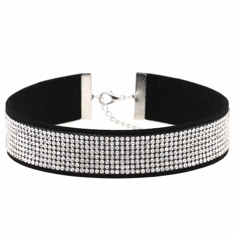 Black Leather Rhinestone Choker