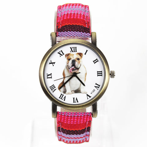 Unisex Bulldog Denim Canvas Belt Quartz  Watches