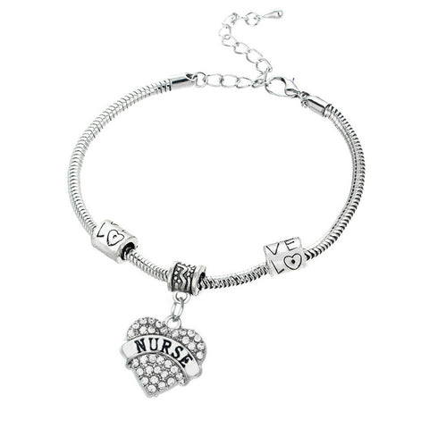 Nurse Love Heart Bangles Bracelets
