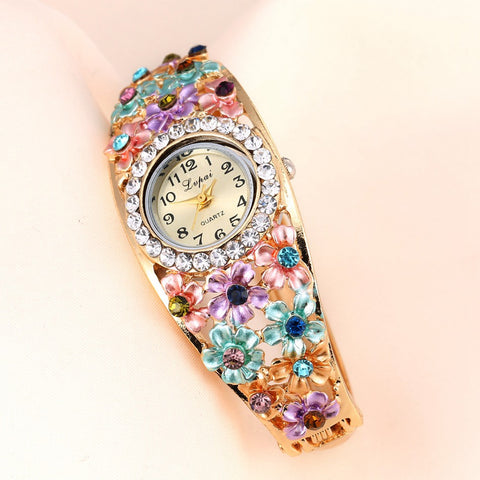 Women Flower Bracelet Wristwatches