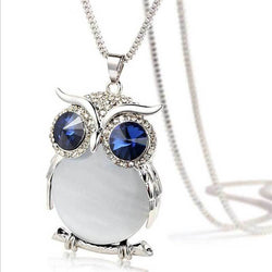Women's Crystal Owl Shaped Opal Necklaces