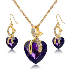 Women's Crystal Heart Necklace Earrings Set