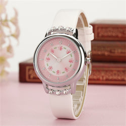 Girls Rhinestone Flower Wristwatches