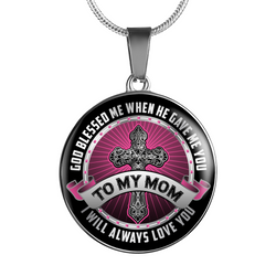 God Bless Me Mom Necklace