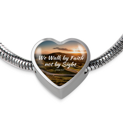 We Walk By Faith Heart Bracelet