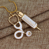Nurse Stethoscope Syringe Necklace