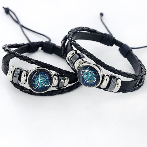 Black Leather 12 Constellation Zodiac Bracelet