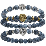 Natural Stone Owl Head  Bracelets