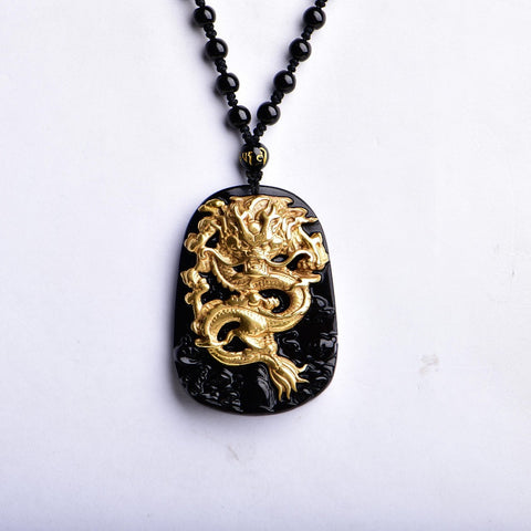 Gold Carving Dragon Necklace