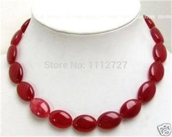 Natural Stone Chalcedony Flat Oval Beads Necklace