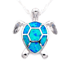 ladies Blue Opal Sea Turtle Necklace