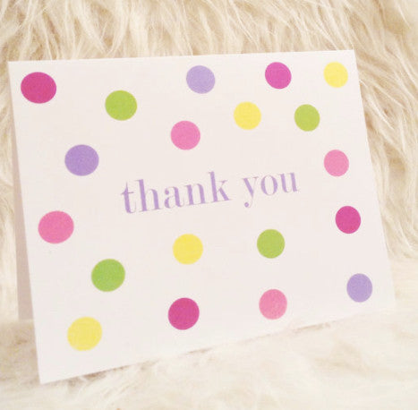"Greeting Card - ""Thank You (colorful polka dots)"""