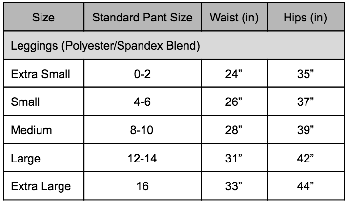 Leggings Sizing Chart