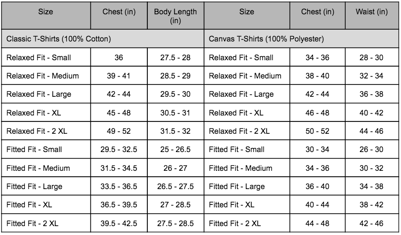 We Are Lions T-shirt Sizing Chart