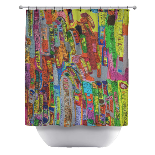Squiggle Bus Shower Curtain