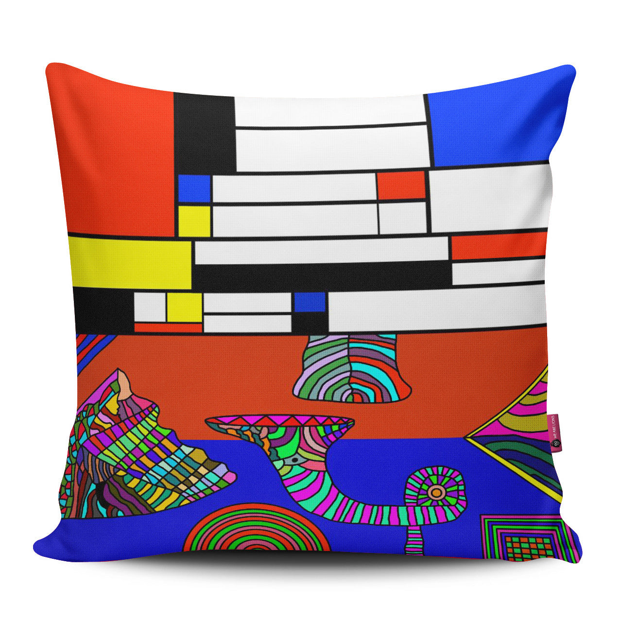 One Mondrian, One Hippie Pillow