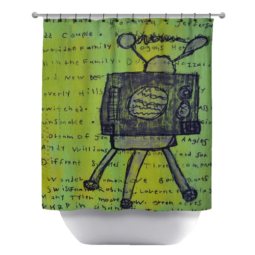 Old Days Television Shower Curtain