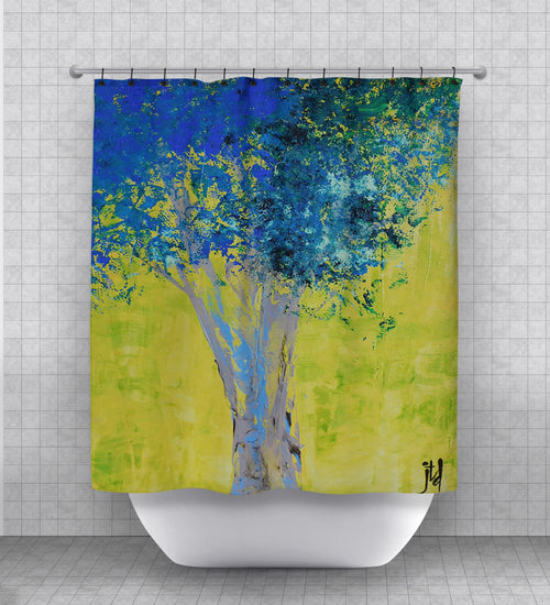 Blue Tree Shower Curtain