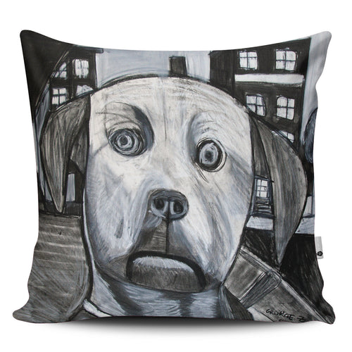 Black and White Dog Pillow