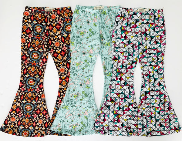 Rainbow Floral Fabric Bell Bottoms