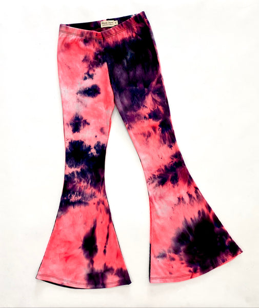 Neon Pink and Black Ribbed Bell Bottoms