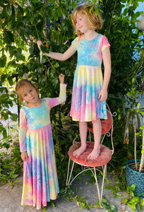 Pastel Rainbow Tie Dye Customizable Dress
