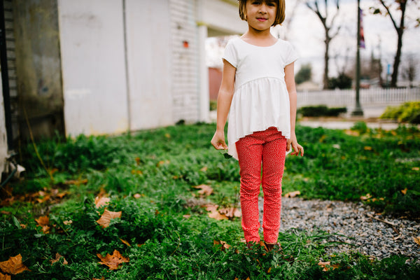 Red Dottie Cuffed Leggings