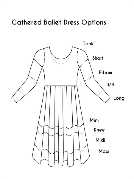 Choose Your Fabric Ballet Dress with Gathered Waist