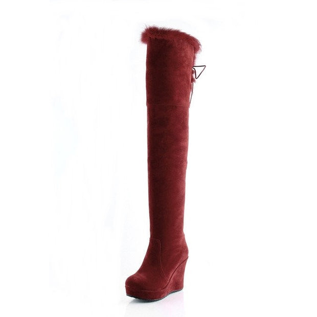 BOTA ANABELA OVER THE KNEE PELOS - PODEROSA SHOP