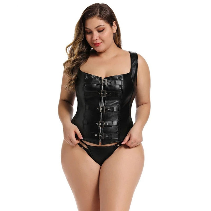 Corset Overbust Couro Plus Size
