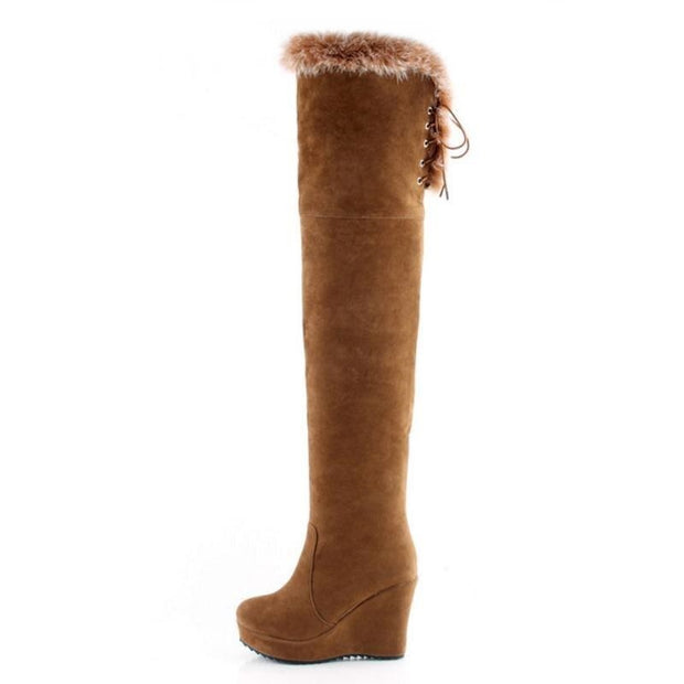 Bota Anabela Over The Knee Pelos