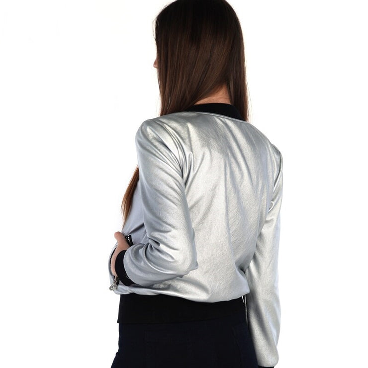 Jaqueta Bomber Leather Prata