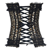 Corset Overbust Lace Up Leopardo