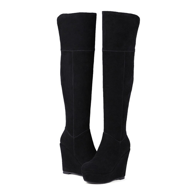 Bota Over The Knee Plataforma Preta