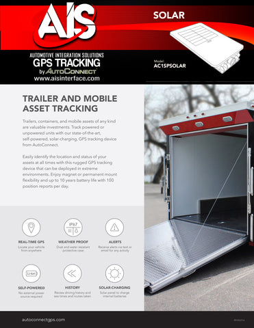 TRAILER & MOBILE ASSET GPS TRACKING PART # AC1SOLAR
