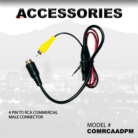 4 PIN TO RCA COMMERCIAL MALE CONNECTOR PART#COMRCAADPM