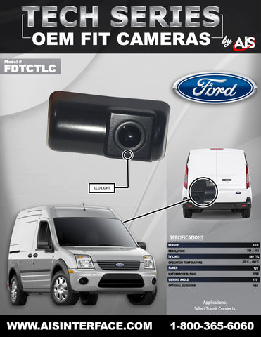 TAG LIGHT CAMERA FOR SELECT TRANSIT CONNECT PT#FDTCTLC