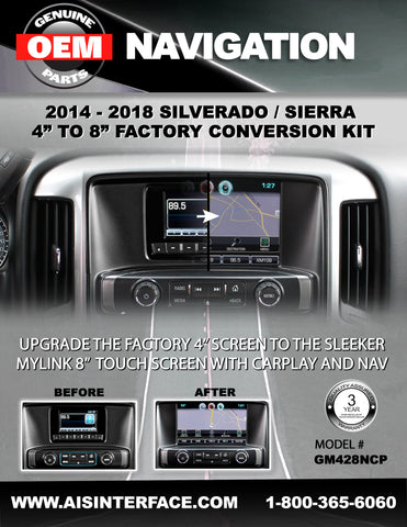 "GM 4.2"" TO 8"" NAVIGATION CONVERSION KIT PART#GM428NCP"