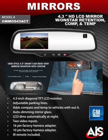MIRROR GM ONSTAR REPLACEMENT PT#GMMOS43ACT