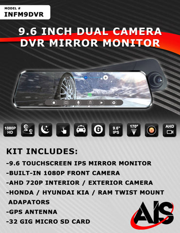"9.6"" MIRROR MONITOR W/DUAL CAMERA DVR PT#INFM9DVR"