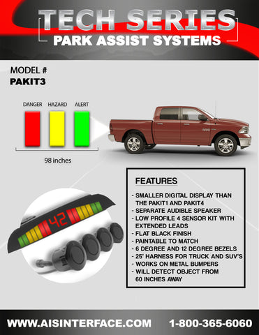 PARK ASSIST REAR SYSTEM PART#PAKIT3