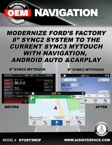 "FORD FACTORY SYNC2 TO SYNC3 8"" UPGRADE PART#SY2-SY3NCP"