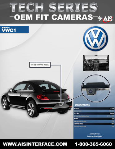 OE FIT TAG LIGHT CAMERA W/LED BULB FOR SELECT BEETLES PART#VWBCAM2