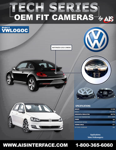 OE FIT VW LOGO CAMERA FOR SELECT MODELS PART# VWLOGOC