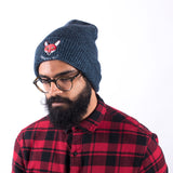 Japanese Fox Soup Beanie - Blue