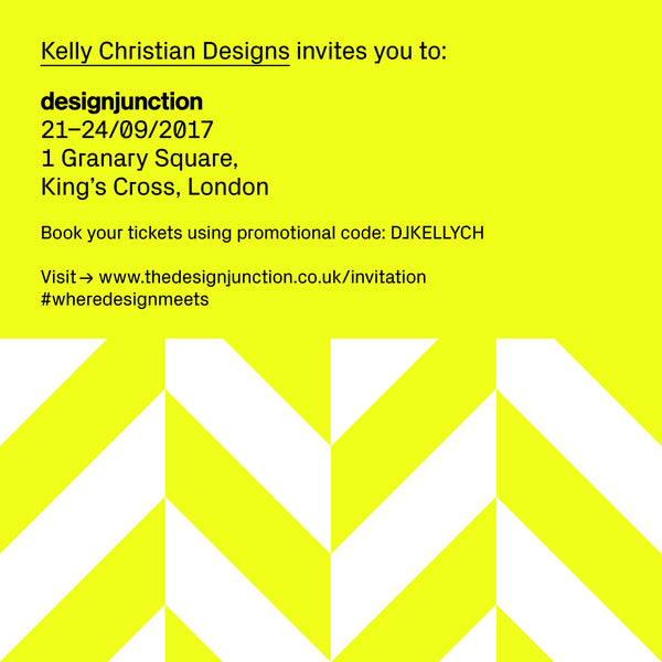 """Save the date: 21-24 September 2017. Kelly Christian Designs will be exhibiting at the design junction show."""