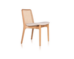Milla 140/100 dining chairs by Jader Almeida (rattan straw/upholstered backrest) - Kelly Christian Designs