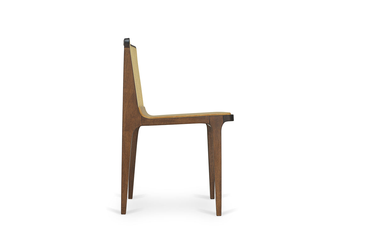 Oscar dining/side chair (back in rattan straw) by Beto & Tuti