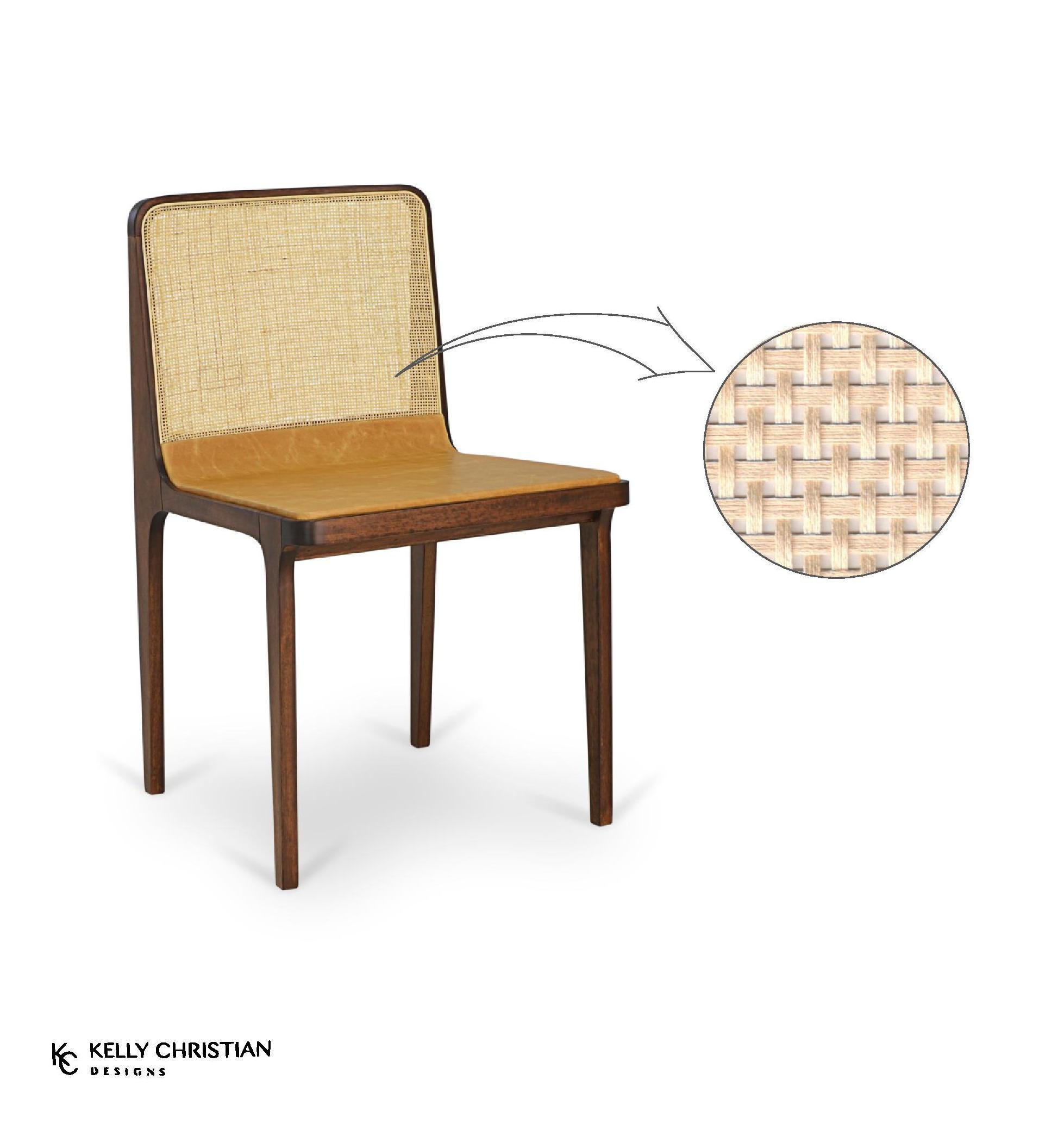 Oscar dining/side chair (back in rattan straw) by Beto & Tuti - Kelly Christian Designs