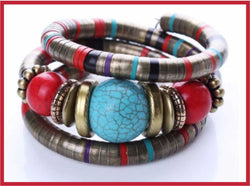 Beautiful Tibetan Adjustable Bangle with round beads and snkake chain